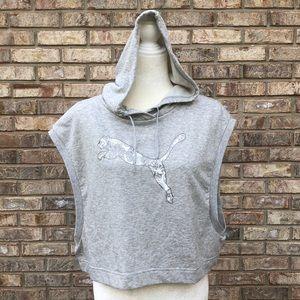 PUMA gray cropped hoodie, M, NWT